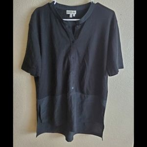 Lacoste Black Silk Wool Blend Button Blouse